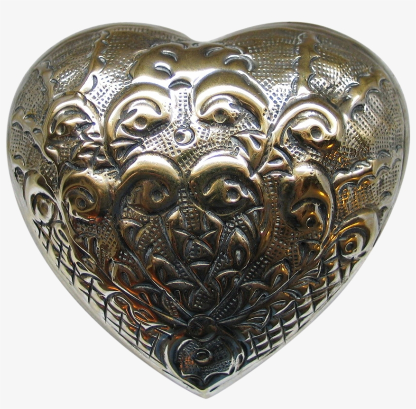 1970s Repoussé Domed Heart Shaped Jewelry Trinket Box - 19th C Heart Shaped Objects, transparent png #4698050
