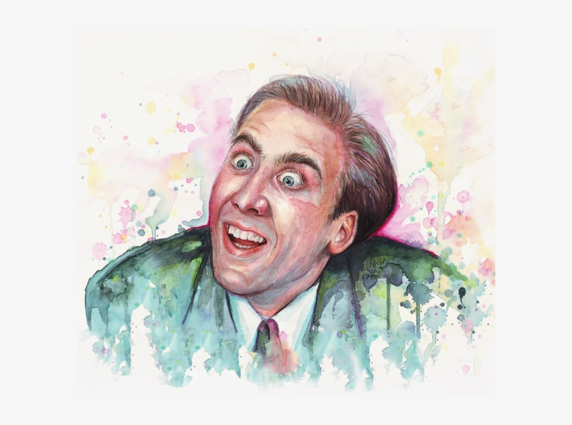 Click And Drag To Re-position The Image, If Desired - Nicolas Cage Painting, transparent png #470088