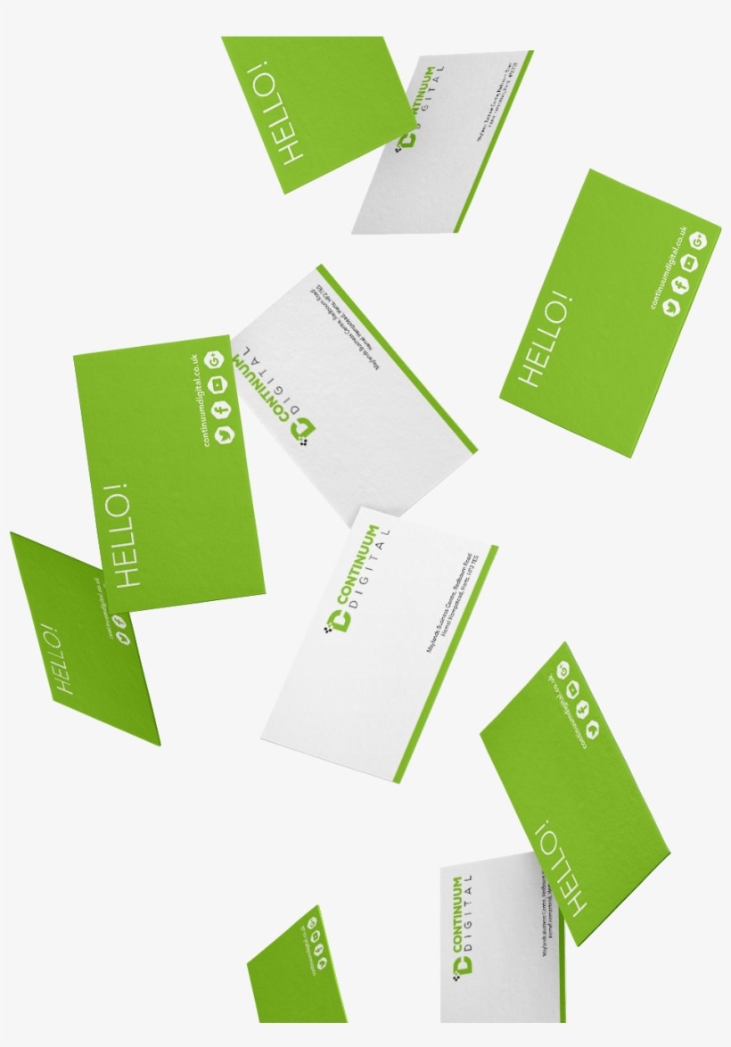Continuum Digital Green Business Cards Falling - Falling Business Card Png, transparent png #470591