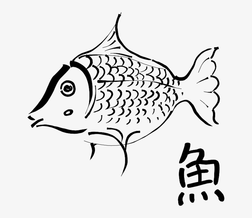 Ink, Food, Cartoon, Fish, Outlines, Drawings, Fishes - Outline Of A Fish, transparent png #472018