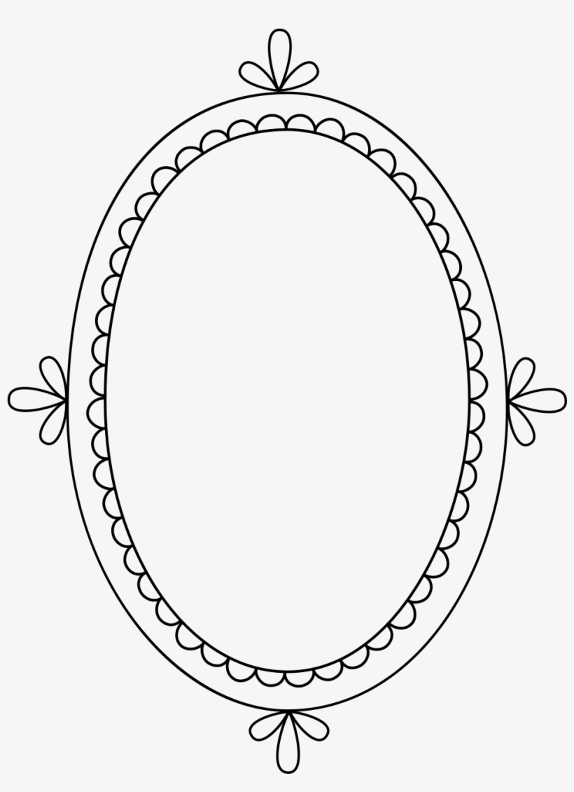 Free Clip Art & Brushes Digital Frames With Scalloped - Clipart Label Frame Oval, transparent png #474161