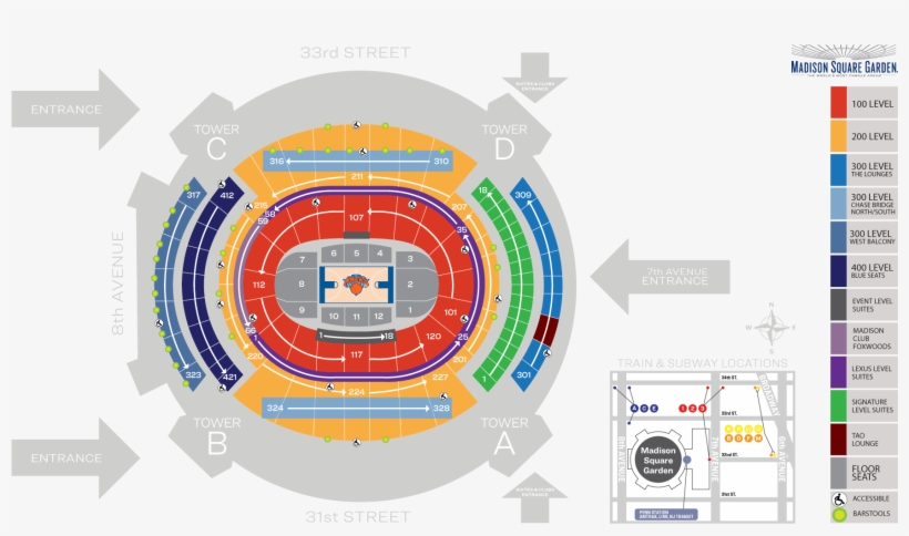 Madison Square Garden Seating Chart And Map Knicks - Madison Square Garden Seating Chart, transparent png #475167
