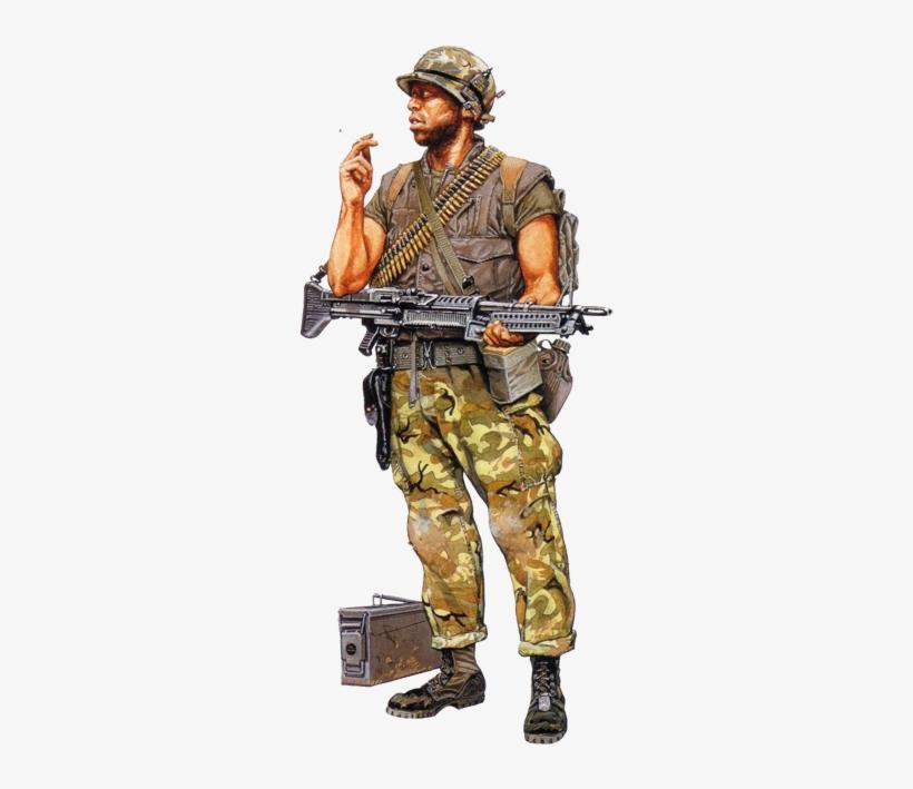 """marine Machine Gunner, Vietnam\ - American Soldier Vietnam Drawing, transparent png #476250"