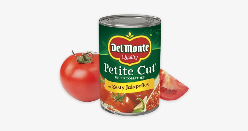 Petite Cut Diced® Tomatoes With Zesty Jalapeños - Del Monte Petite Cut Diced Tomatoes 14.5 Oz. Can, transparent png #479358