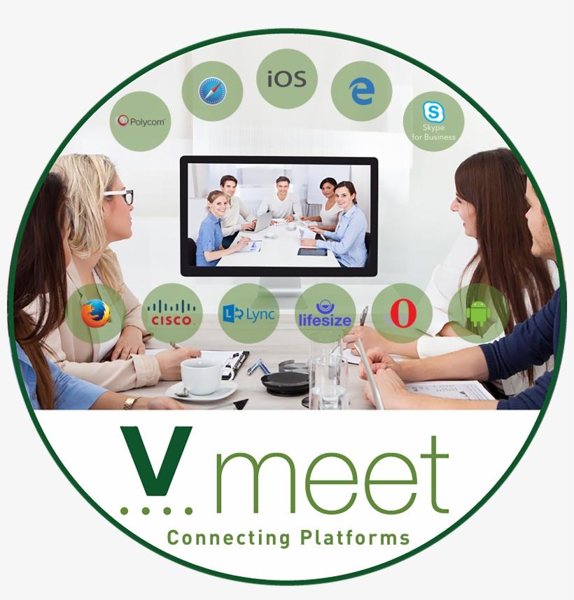 Vmeet Logo Under A Meeting In A Circle With Platform - Convierte Tus Webinars En Una Mina De Oro, transparent png #4706658