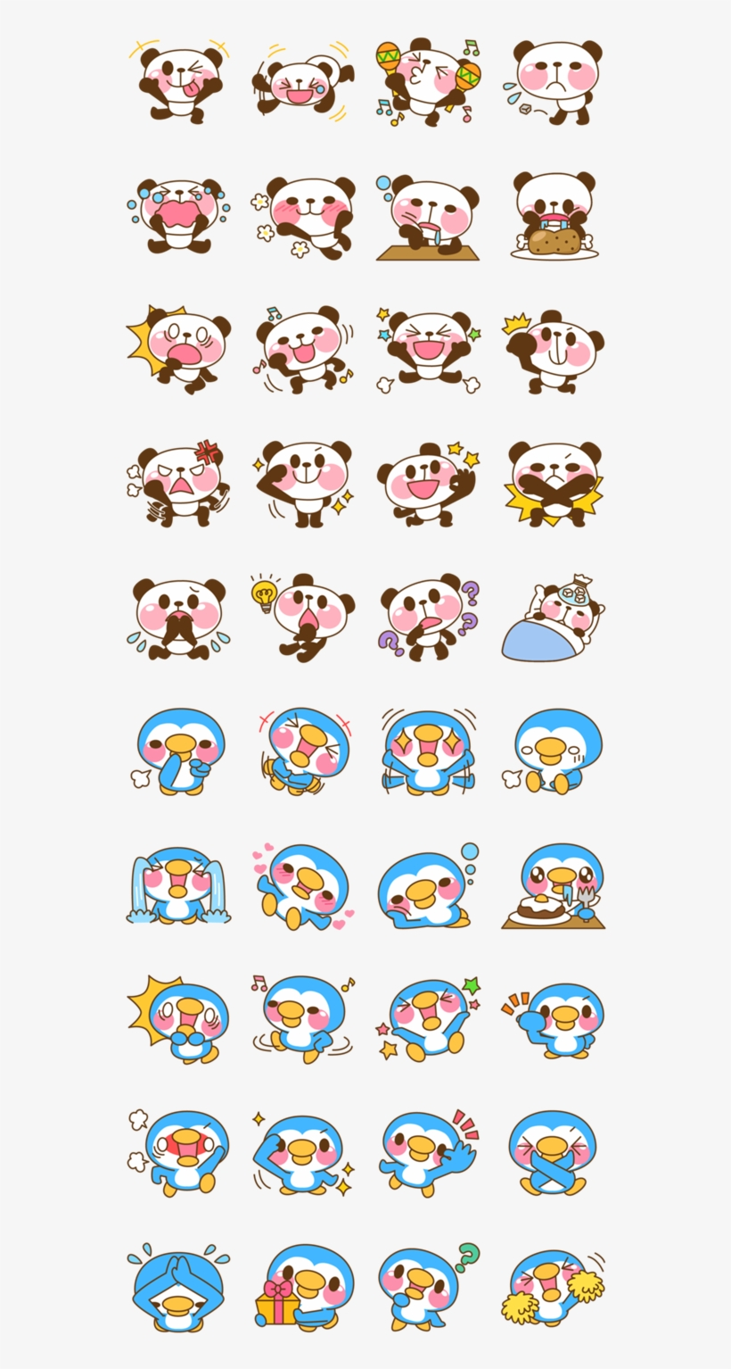 graphic regarding Printable Emoji Stickers named Pandas And Birds Kawaii Stickers, Lovely Stickers, Emoji