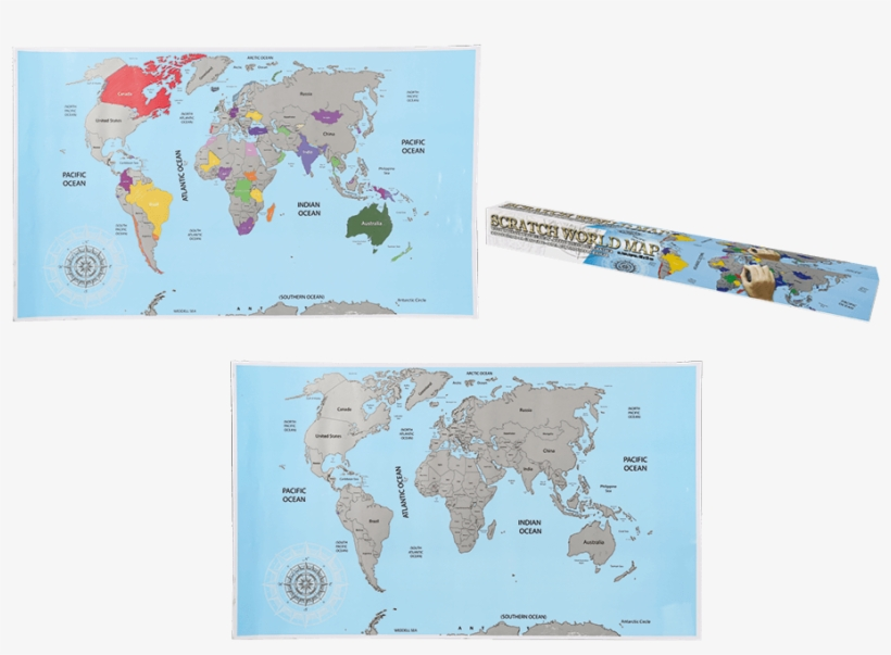 You Are Here - Scratch Off World Map Blue, transparent png #4717456