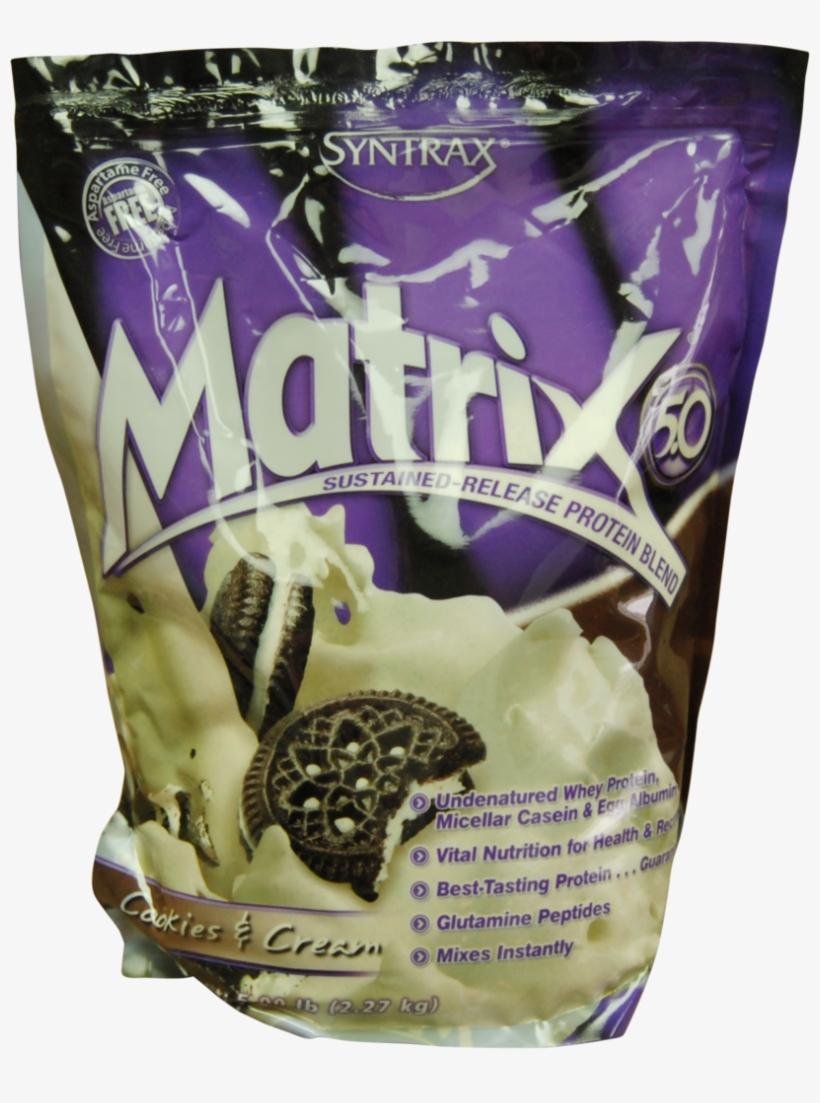 Cookies And Cream Matrix Protein Powder - Syntrax Matrix 5.0 - Cookies & Cream - 5 Lbs, transparent png #4730425