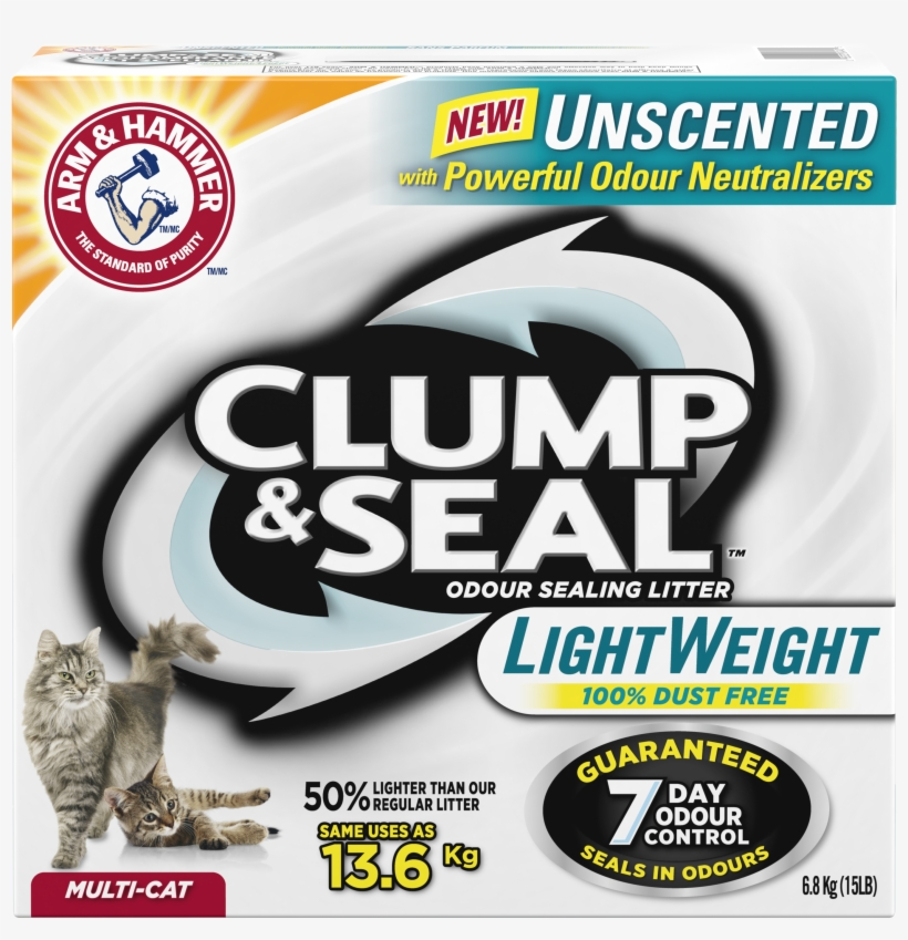Unscented Litter2 Products - Arm & Hammer Clump And Seal Cat Litter, transparent png #4734355