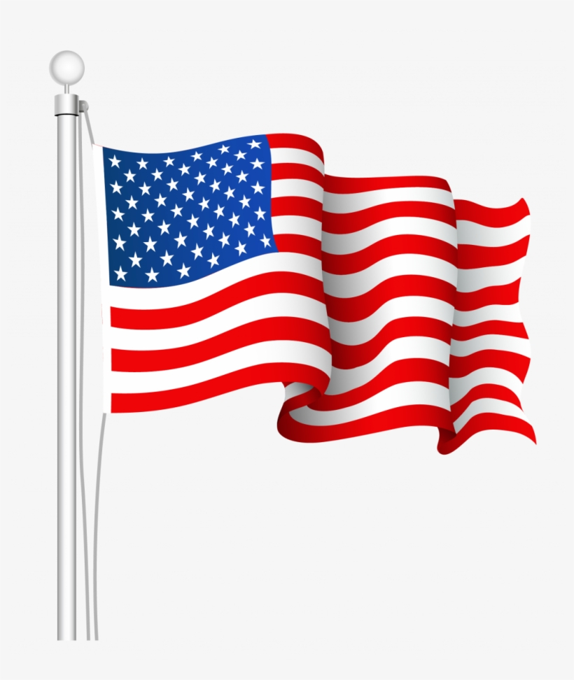 Collection Of Waving American Flag Drawing - American Flag Clip Art Png, transparent png #4740689