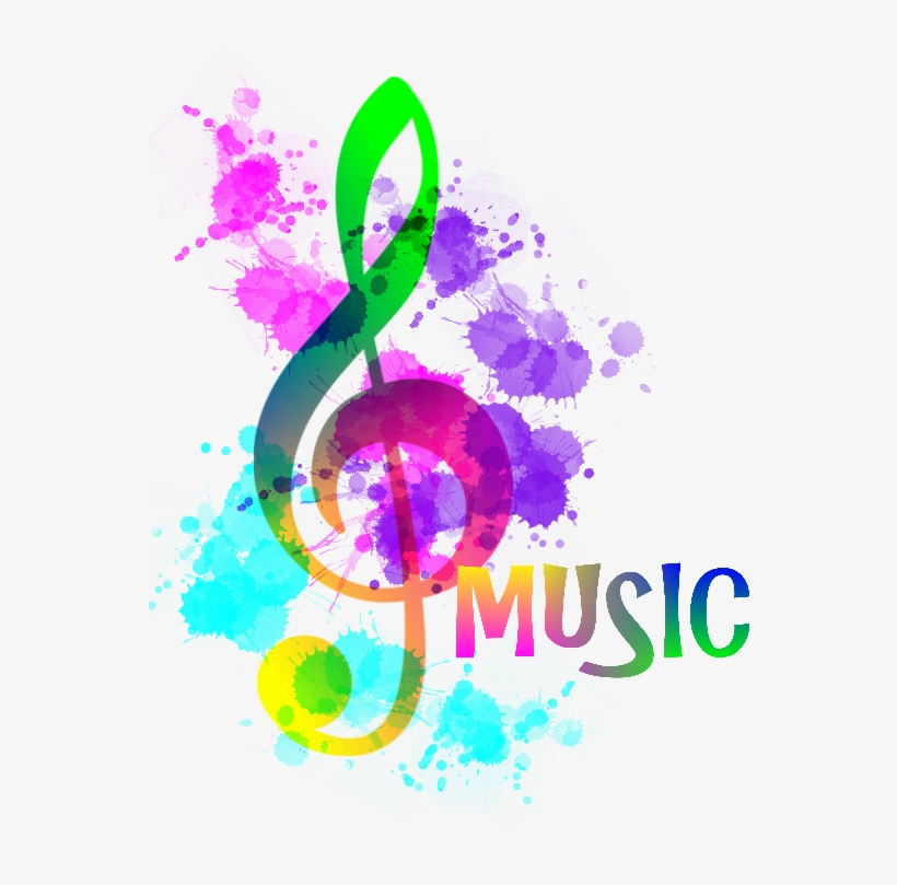 Rainbow Music Notes Png - Funky Treble Clef, transparent png #4743823