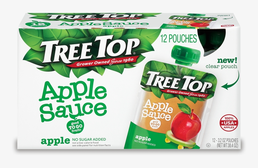 No Sugar Added Apple Sauce - Tree Top Apple Sauce - 12 Pack, 3.2 Oz Pouches, transparent png #4750561