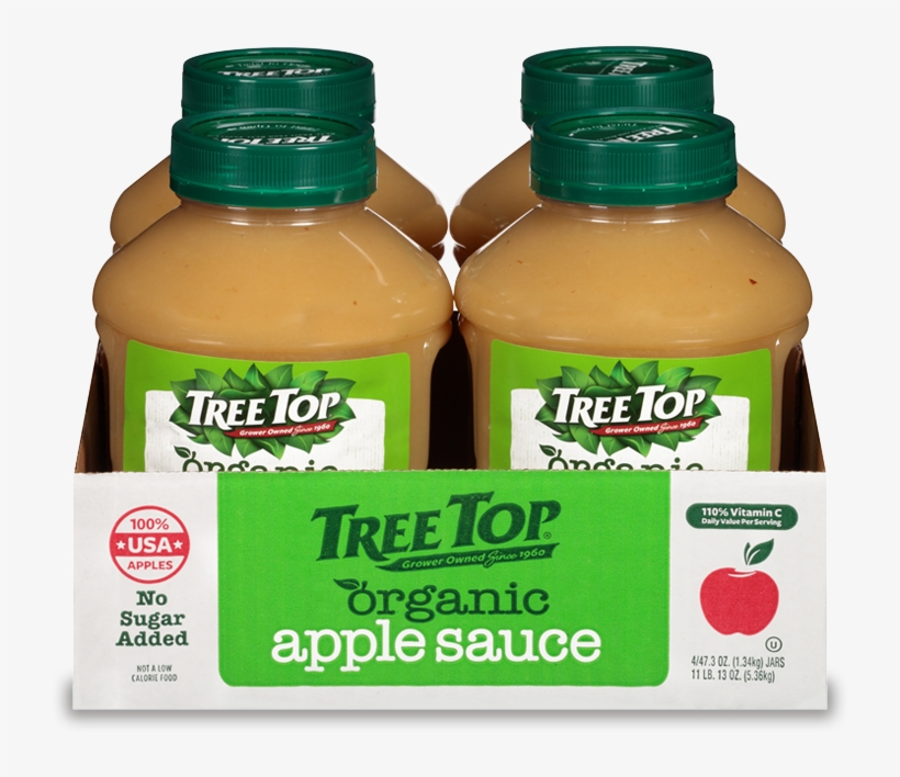 Organic No Sugar Added Apple Sauce Jar 4 Pack - Tree Top No Sugar Added Organic Apple Sauce 3.2 Oz., transparent png #4750637