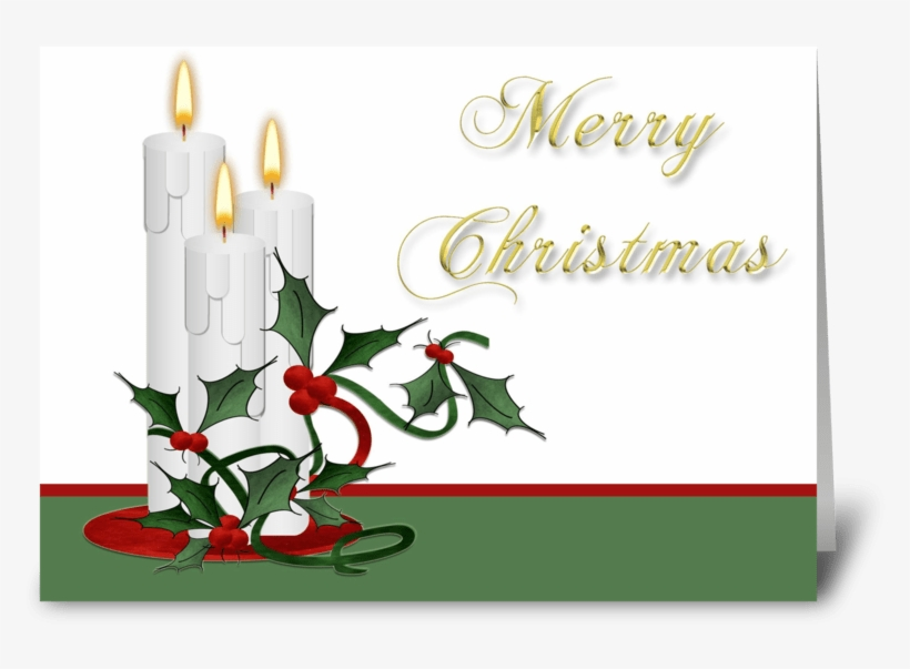 Candles With Holly, Merry Christmas Greeting Card - Christmas Candles Oval Ornament, transparent png #4753317