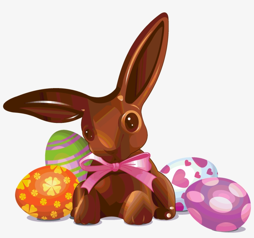 Easter-chocolate Bunny And Eggs - Chocolate Easter Eggs And Bunnies, transparent png #4753589