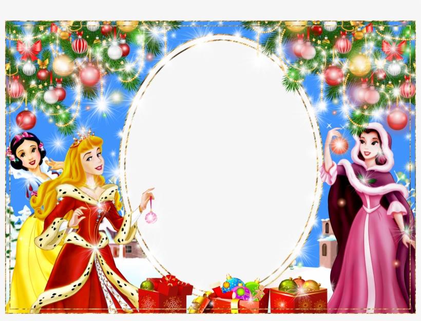 Disney Princess Picture Frame - Disney Princess Christmas Card, transparent png #4756638