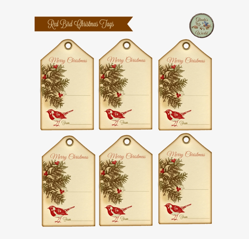 This A Simple Gift Tag I Made Using A Cute Red Bird - Printable Vintage Gift Tags Christmas, transparent png #4757871