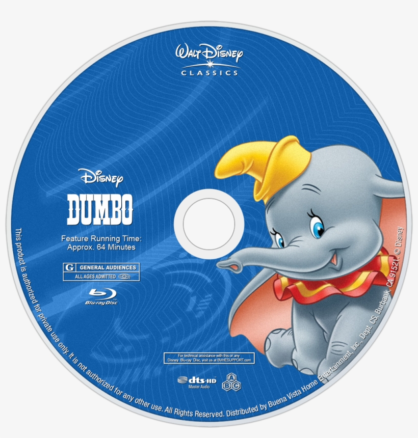 Dumbo Bluray Disc Image - Disney Blu Ray Discs, transparent png #4795743