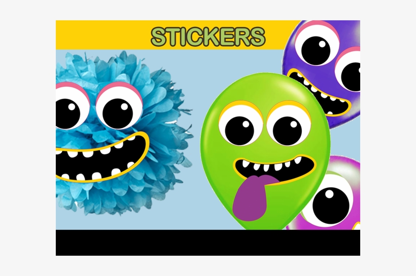 Monster Balloon Sticker And Deco - Monster Face Balloon Stickers, transparent png #481776
