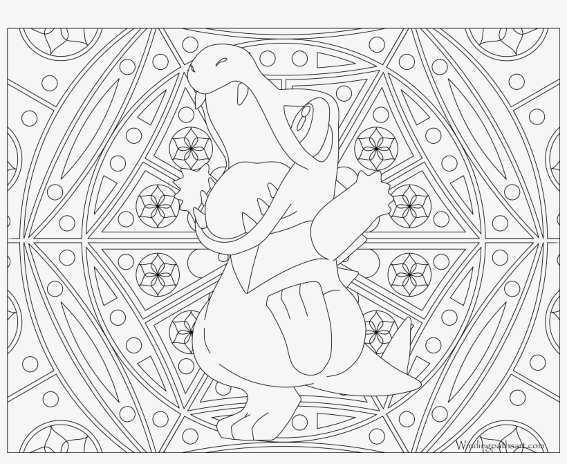 #158 Totodile Pokemon Coloring Page - Pokemon Mewtwo Adult Coloring Pages, transparent png #484364