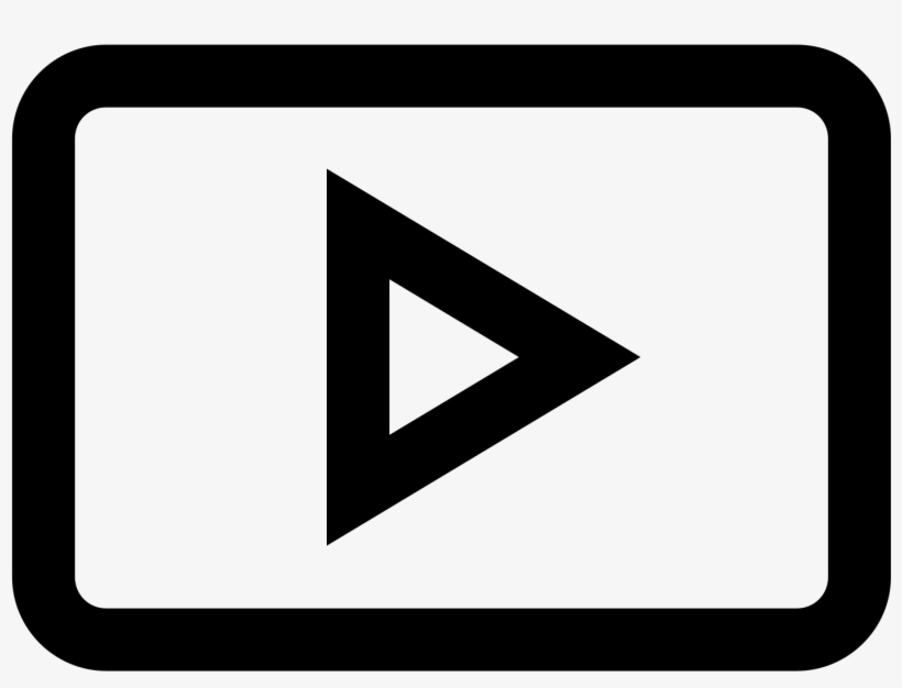 Play Button Icon - Youtube Logo Outline White, transparent png #485251