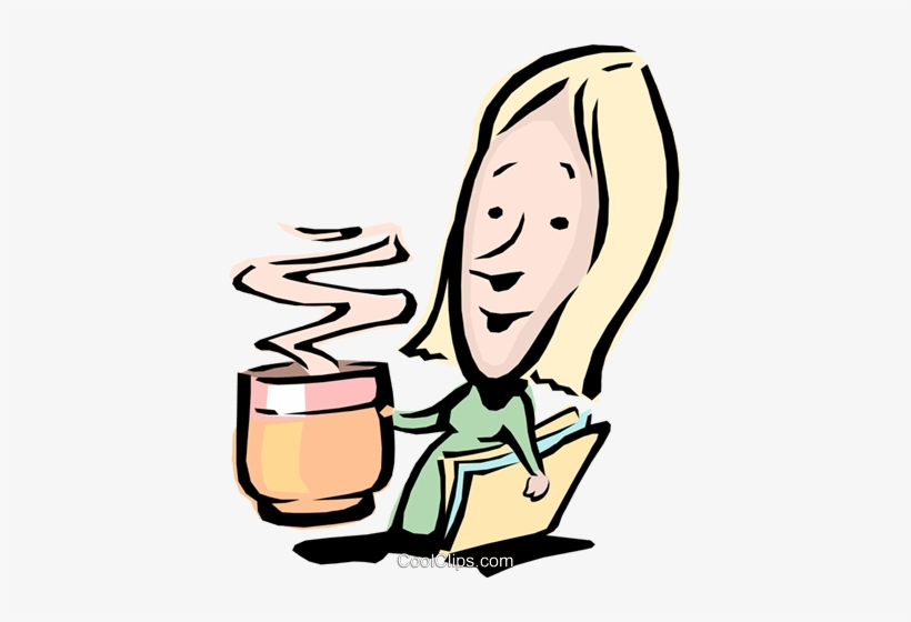 Cartoon Woman With A Cup Of Coffee Royalty Free Vector - Woman Drinking Coffee Clipart Png, transparent png #487244
