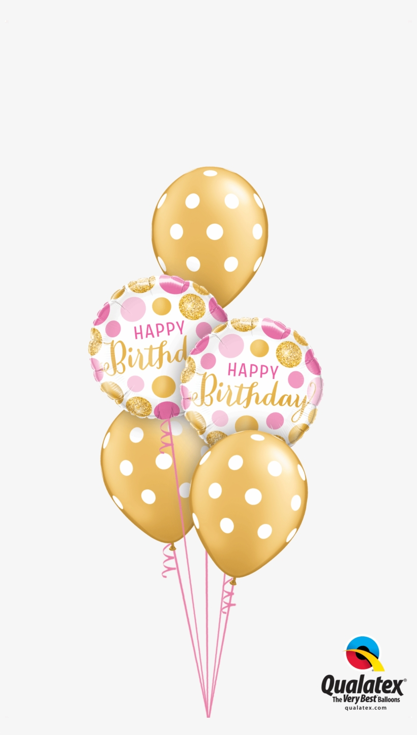 Get Gold Pink Polka Dots Helium Balloons Delivered