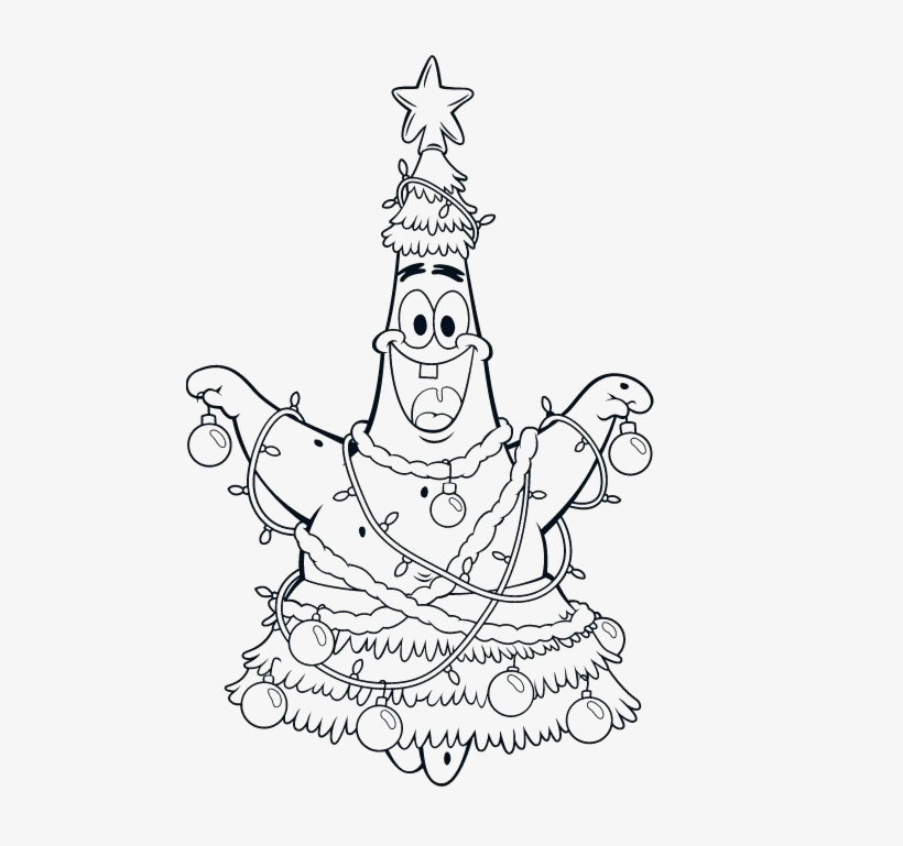 Free Spongebob Christmas Coloring Pages Patrick Friend - Spongebob Christmas Printable Coloring Pages, transparent png #4813643