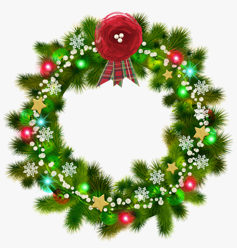Christmas Wreath, Red Flower, Christmas Snow - Christmas Wreath, transparent png #4824277
