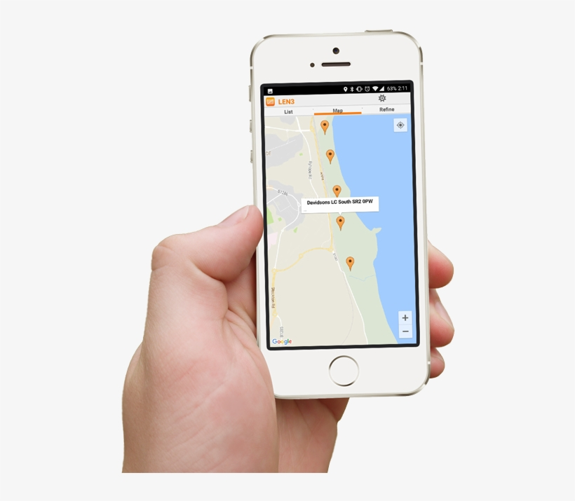 Hand Holding Smartphone Showing Access Points App Map - Iphone, transparent png #4853572