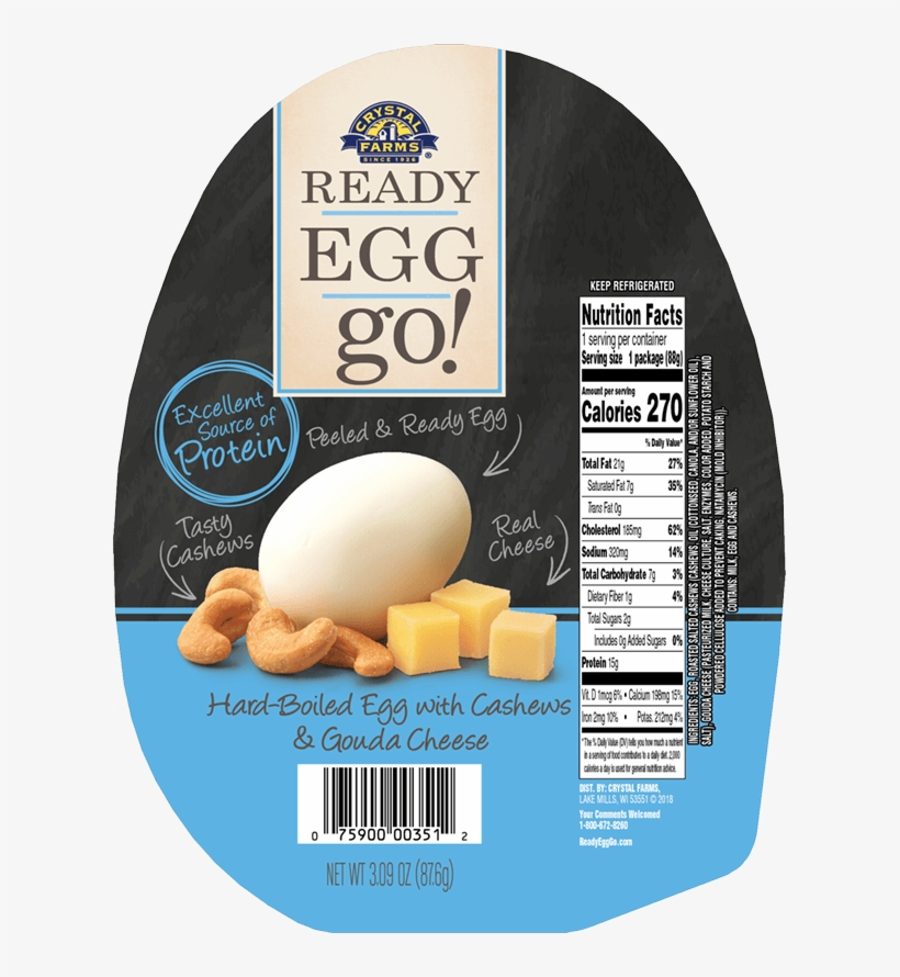 Hard-boiled Egg With Cashews & Gouda Cheese - Crystal Farms Ready Egg Go, With Cashews, transparent png #4866361