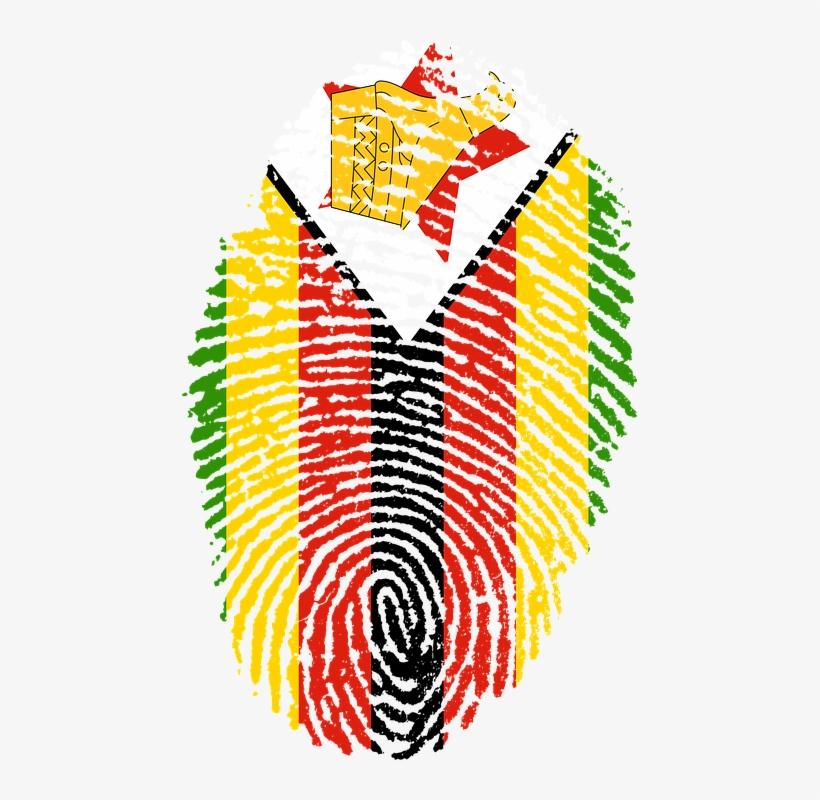 Zimbabwe, Flag, Fingerprint, Country, Pride, Identity - Zimbabwe Flag Fingerprint, transparent png #4875957