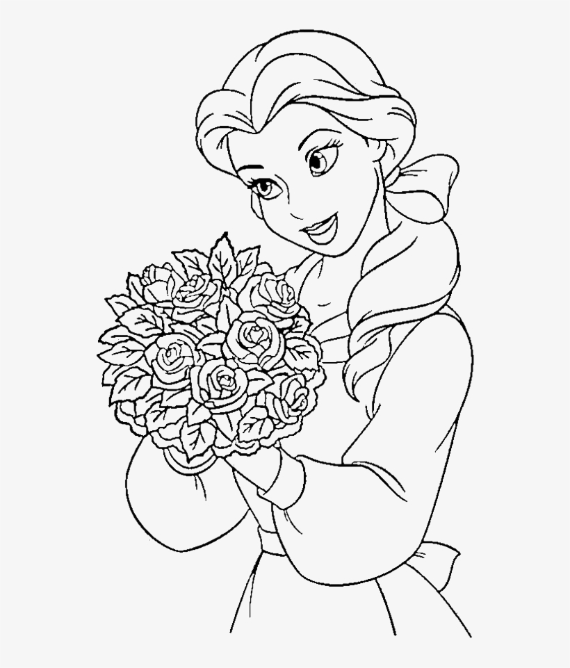 Clipart Stock Disney Princesses Pages Print - Princess Belle Beauty And The Beast Coloring, transparent png #4892385