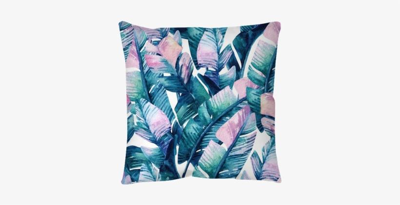Watercolor Banana Leaf Seamless Pattern - Banana Leaves Watercolor Pattern, transparent png #492588