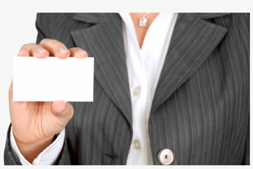 Woman In Suit Holding Blank Business Card - Working Women In The U. S.: Statistical Data, transparent png #492829