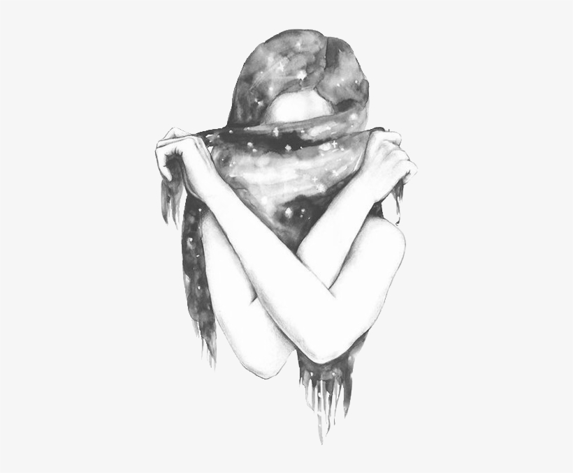 Black And White Cute Drawing Girl Favim Of Tumblr Hipster Free Transparent Png Download Pngkey