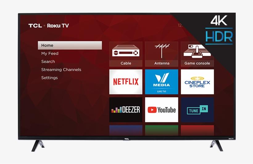 "Tcl 55"" Class 4 Series 4k Uhd Hdr Roku Smart Tv - Tcl S Series 49s405 - 49"" Led Smart Tv - 4k Ultrahd, transparent png #4901332"