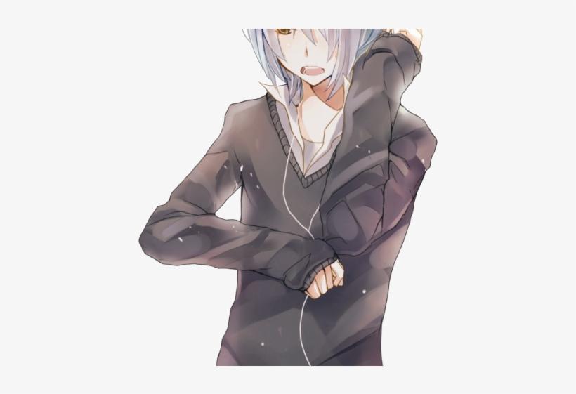 Manga Boy Png Transparent Images - Anime Boy Gray Long Hair, transparent png #4902132