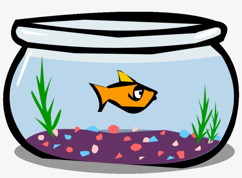 Goldfish In A Bowl Png Black And White Library - Fish Bowl Clipart Png, transparent png #4948886