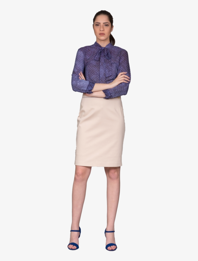 Shirt With Polka Dot Pattern, Collar And Bow Tie - Pencil Skirt, transparent png #4950773