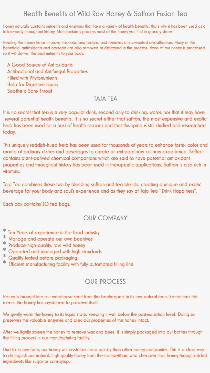 Health Benefits Of Wild Raw Honey & Saffron Fusion - Health, transparent png #4976345