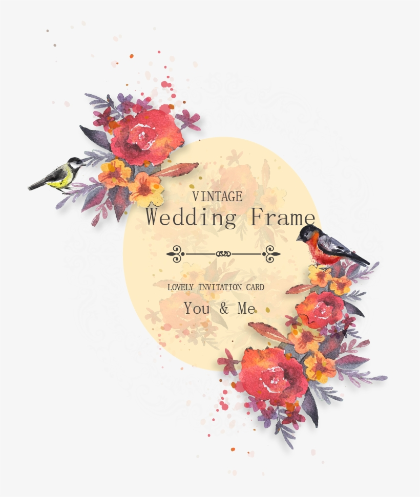 Image Free Library Hollywood Vector Watercolor - Wedding Invitation Card Vintage Png, transparent png #50226