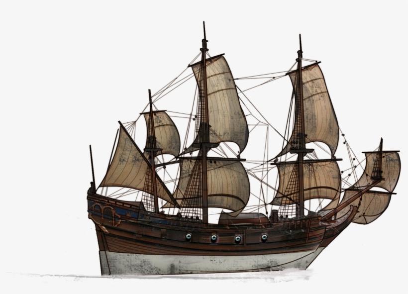 Ship Png Hd - Old Sailing Ship Png, transparent png #51750