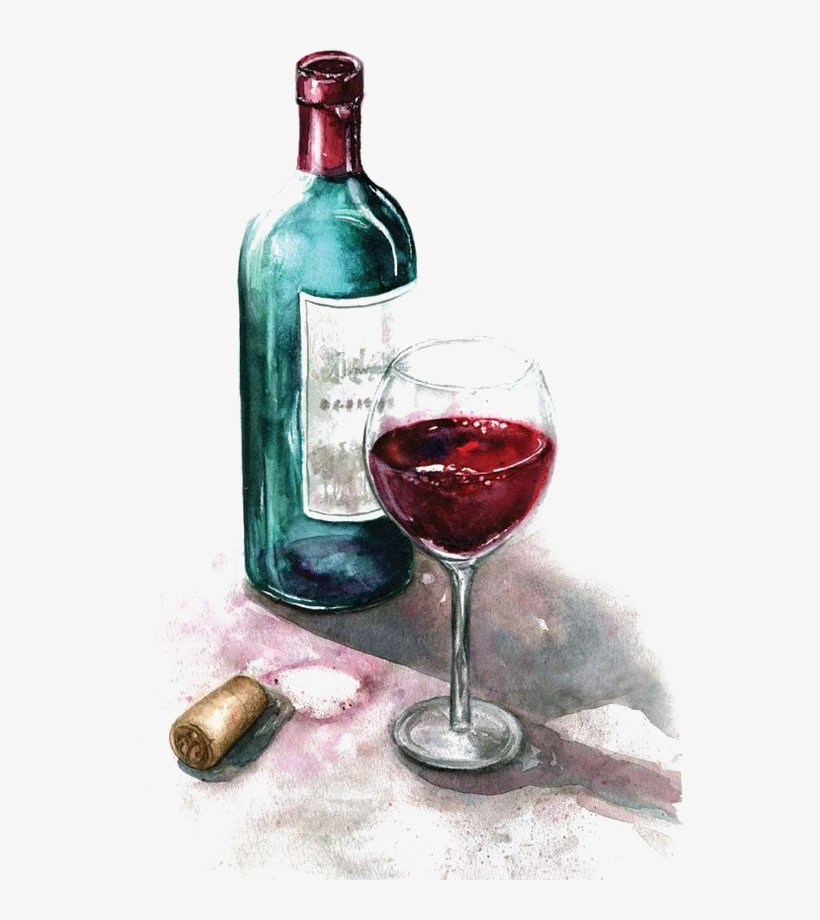 Png Library Red Painting Glass Of Transprent Png Free - Watercolor Paintings Of Wine Bottles, transparent png #52124