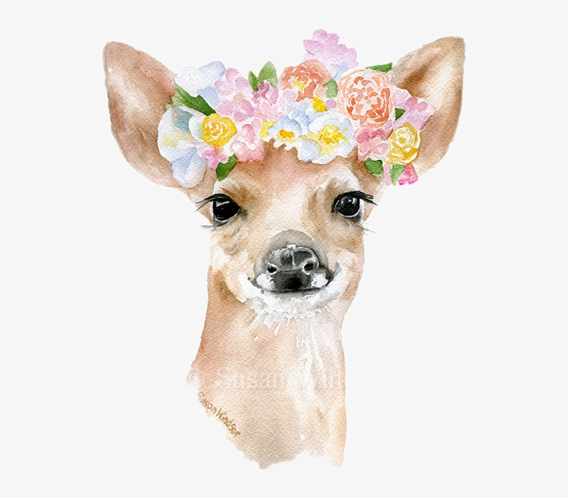 Watercolor Watercolour Animals Animal Flowercrown Flowe - Flower Crown Watercolor, transparent png #52413