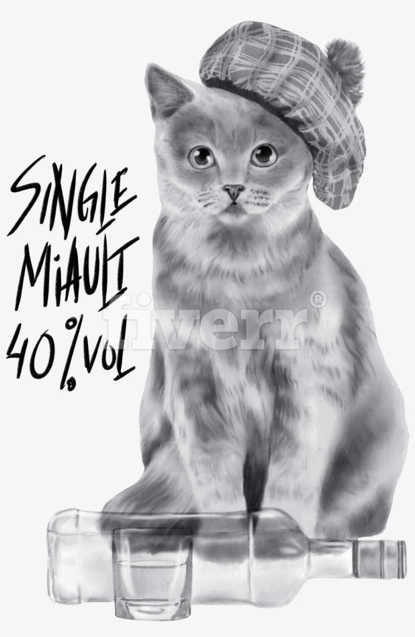 Draw A Portrait Of Your Pet Or Other Animal In Watercolor - Domestic Short-haired Cat, transparent png #52986