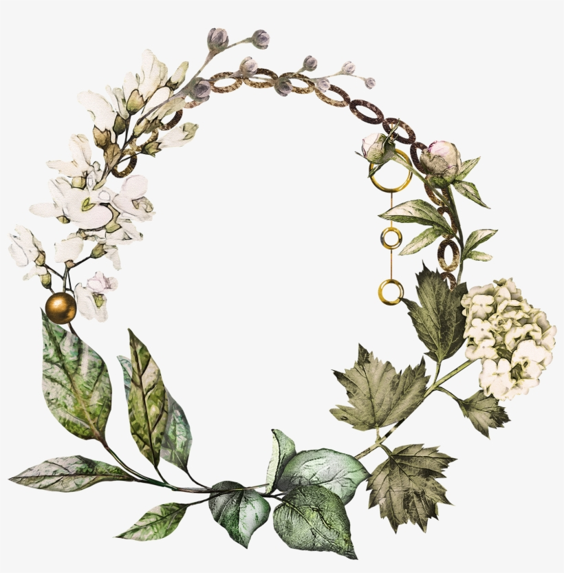 Svg Royalty Free Library Ivy Wreath Clipart - Watercolor Cotton Wreath, transparent png #52992
