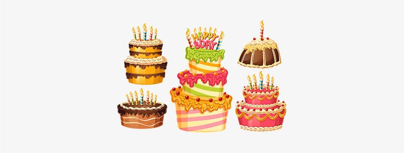 Collection Of Vector Cartoon Birthday Cakes With Candles Torta