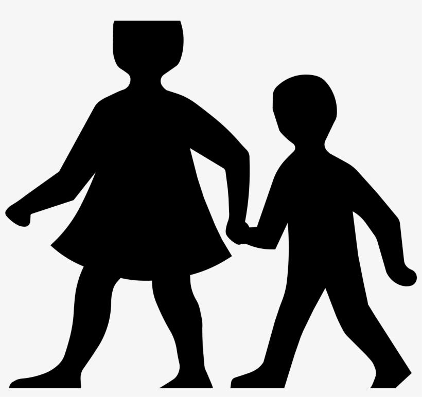 Children Crossing Road Sign Big Image Png - Children Silhouette Clip Art, transparent png #56041