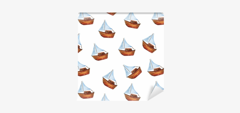 Seamless Pattern With Small Boat On White Background - Boat, transparent png #56622